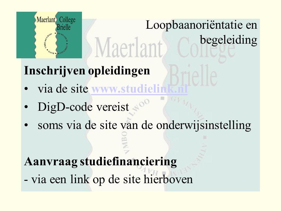 Loopbaanoriëntatie en begeleiding Inschrijven opleidingen via de site www.studielink.nlwww.studielink.nl DigD-code vereist soms via de site van de ond