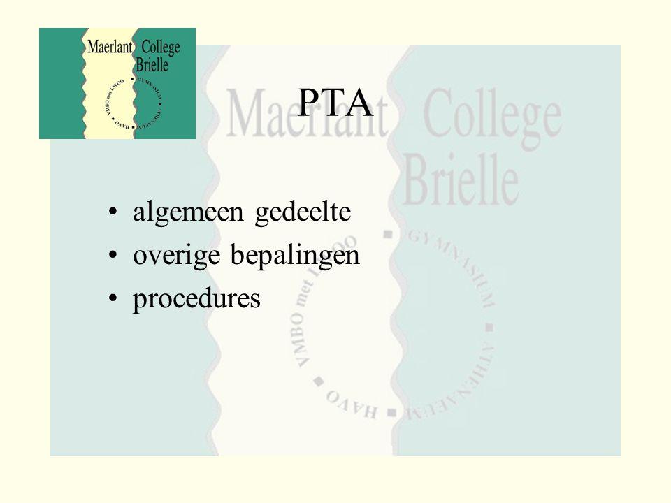 PTA algemeen gedeelte overige bepalingen procedures