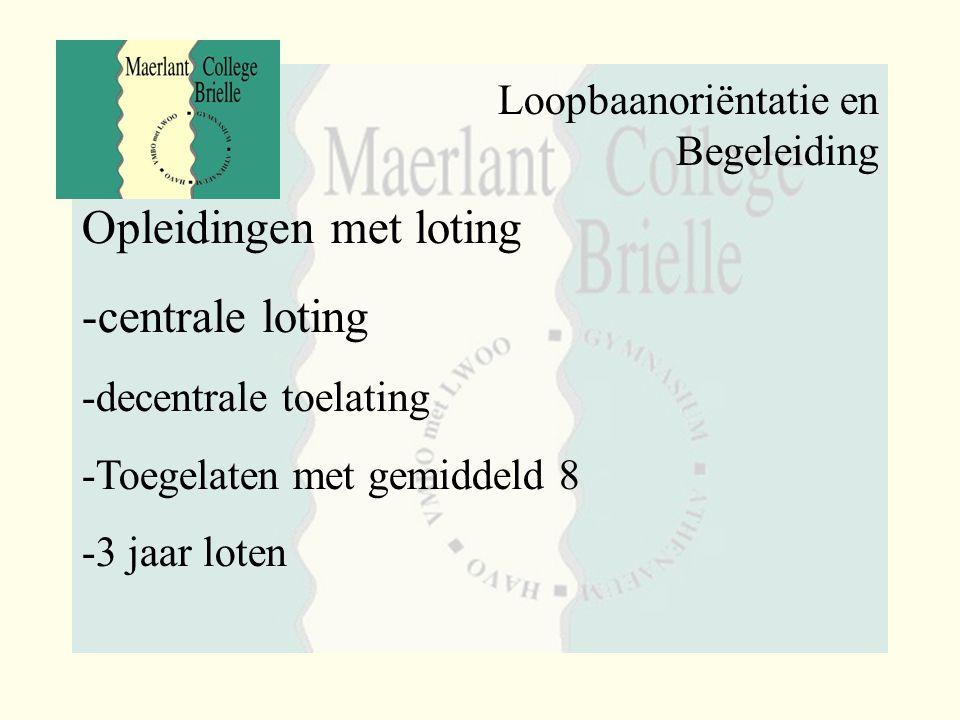 Loopbaanoriëntatie en Begeleiding Opleidingen met loting -centrale loting -decentrale toelating -Toegelaten met gemiddeld 8 -3 jaar loten