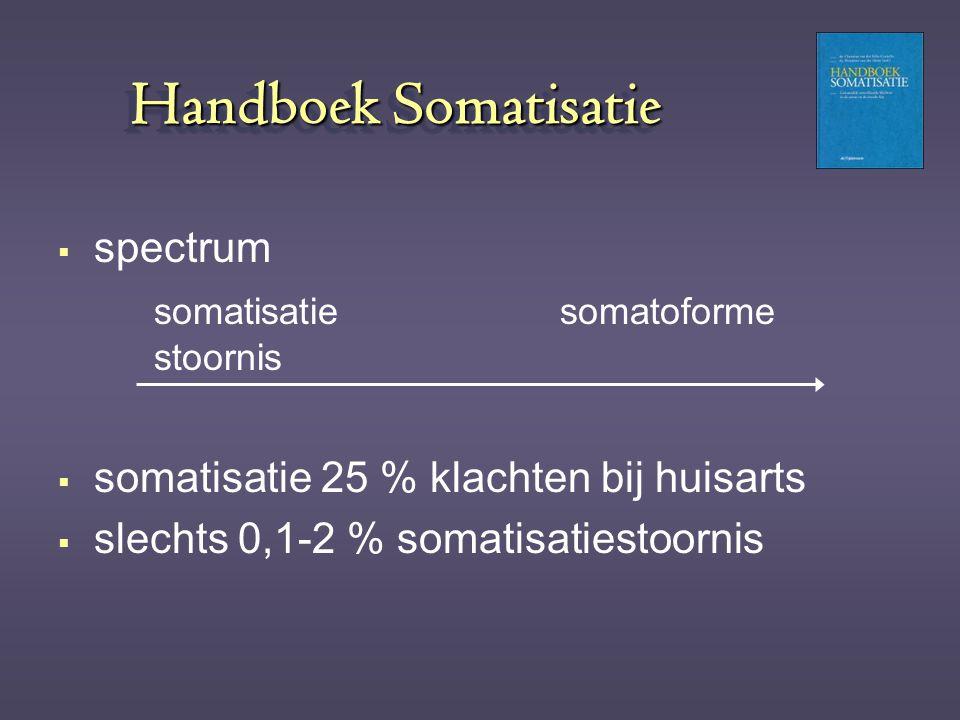 Handboek Somatisatie  spectrum somatisatie somatoforme stoornis  somatisatie 25 % klachten bij huisarts  slechts 0,1-2 % somatisatiestoornis