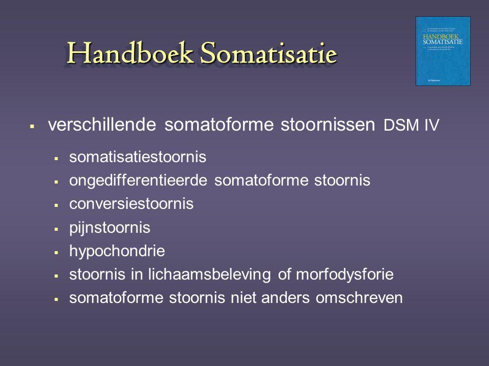 Handboek Somatisatie  verschillende somatoforme stoornissen DSM IV  somatisatiestoornis  ongedifferentieerde somatoforme stoornis  conversiestoorn