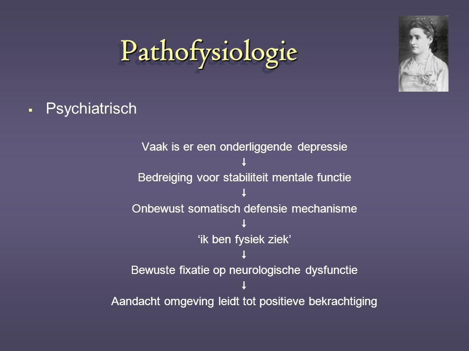 PathofysiologiePathofysiologie  Psychiatrisch Vaak is er een onderliggende depressie  Bedreiging voor stabiliteit mentale functie  Onbewust somatis