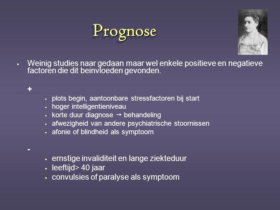 PrognosePrognose  Weinig studies naar gedaan maar wel enkele positieve en negatieve factoren die dit beinvloeden gevonden. +  plots begin, aantoonba