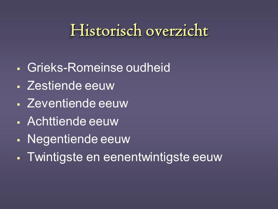 Historisch overzicht  Grieks-Romeinse oudheid  Zestiende eeuw  Zeventiende eeuw  Achttiende eeuw  Negentiende eeuw  Twintigste en eenentwintigst
