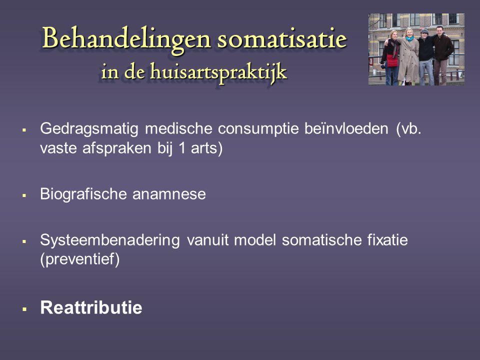 Behandelingen somatisatie in de huisartspraktijk  Gedragsmatig medische consumptie beïnvloeden (vb. vaste afspraken bij 1 arts)  Biografische anamne
