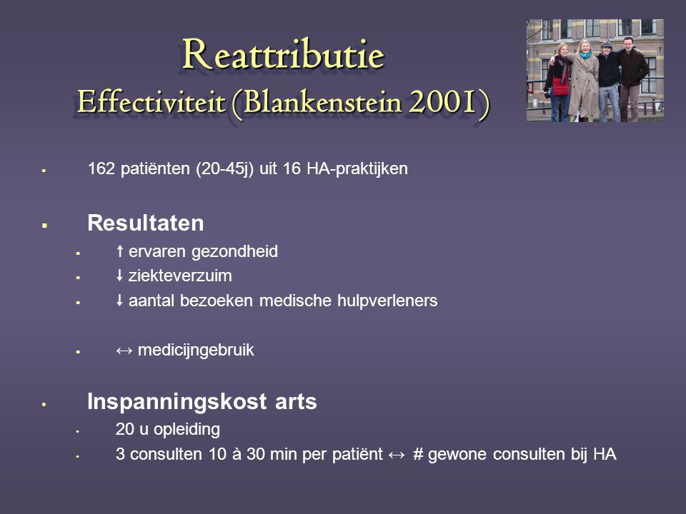 Reattributie Effectiviteit (Blankenstein 2001)  162 patiënten (20-45j) uit 16 HA-praktijken  Resultaten   ervaren gezondheid   ziekteverzuim  