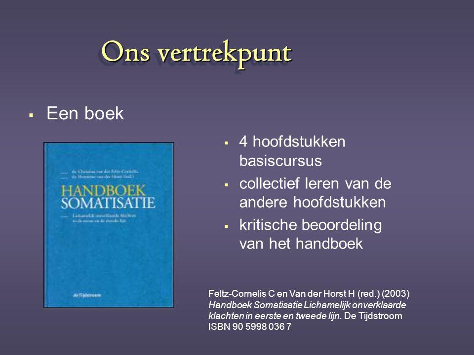 Ons vertrekpunt  Een boek   4 hoofdstukken basiscursus   collectief leren van de andere hoofdstukken   kritische beoordeling van het handboek F