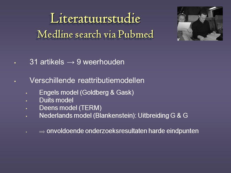 Literatuurstudie Medline search via Pubmed 31 artikels → 9 weerhouden Verschillende reattributiemodellen Engels model (Goldberg & Gask) Duits model De
