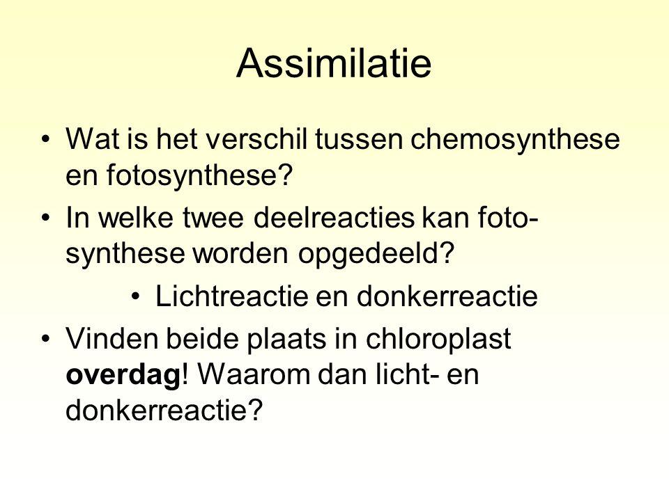 Assimilatie Wat is het verschil tussen chemosynthese en fotosynthese? In welke twee deelreacties kan foto- synthese worden opgedeeld? Lichtreactie en