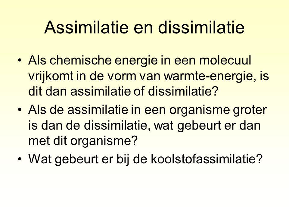 Als chemische energie in een molecuul vrijkomt in de vorm van warmte-energie, is dit dan assimilatie of dissimilatie? Als de assimilatie in een organi