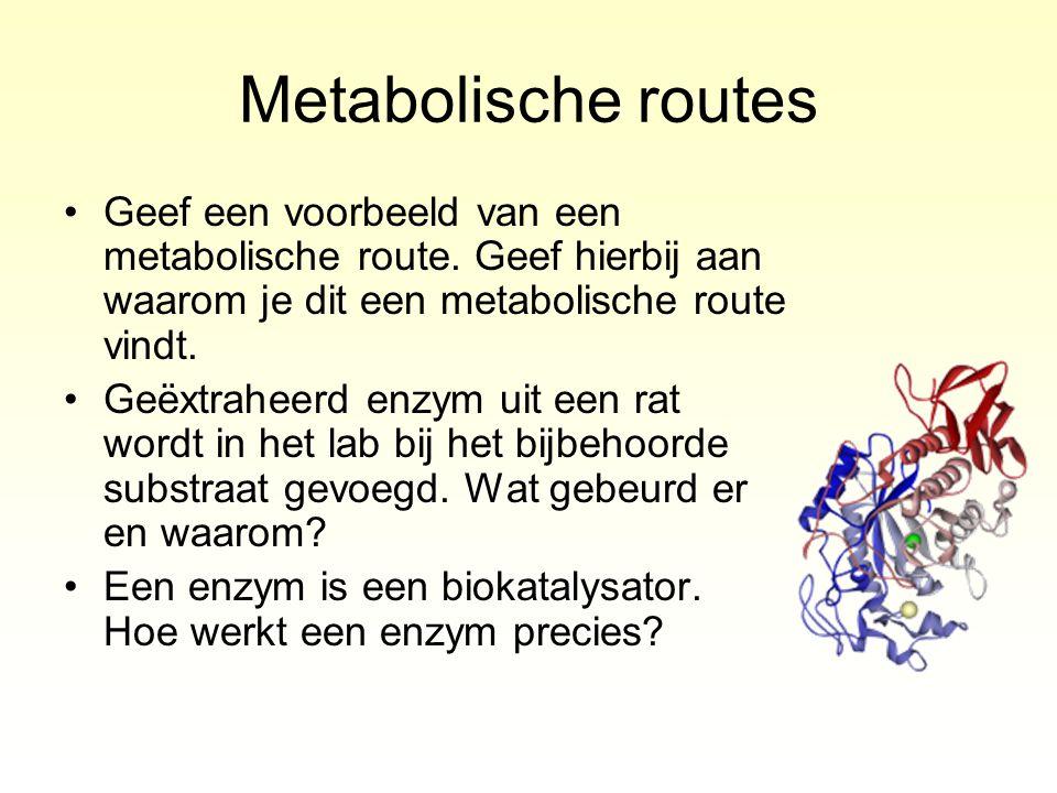 Metabolische routes Geef een voorbeeld van een metabolische route. Geef hierbij aan waarom je dit een metabolische route vindt. Geëxtraheerd enzym uit