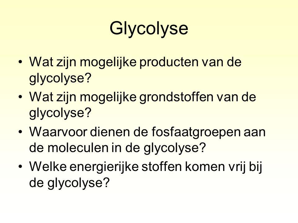 Glycolyse Wat zijn mogelijke producten van de glycolyse? Wat zijn mogelijke grondstoffen van de glycolyse? Waarvoor dienen de fosfaatgroepen aan de mo