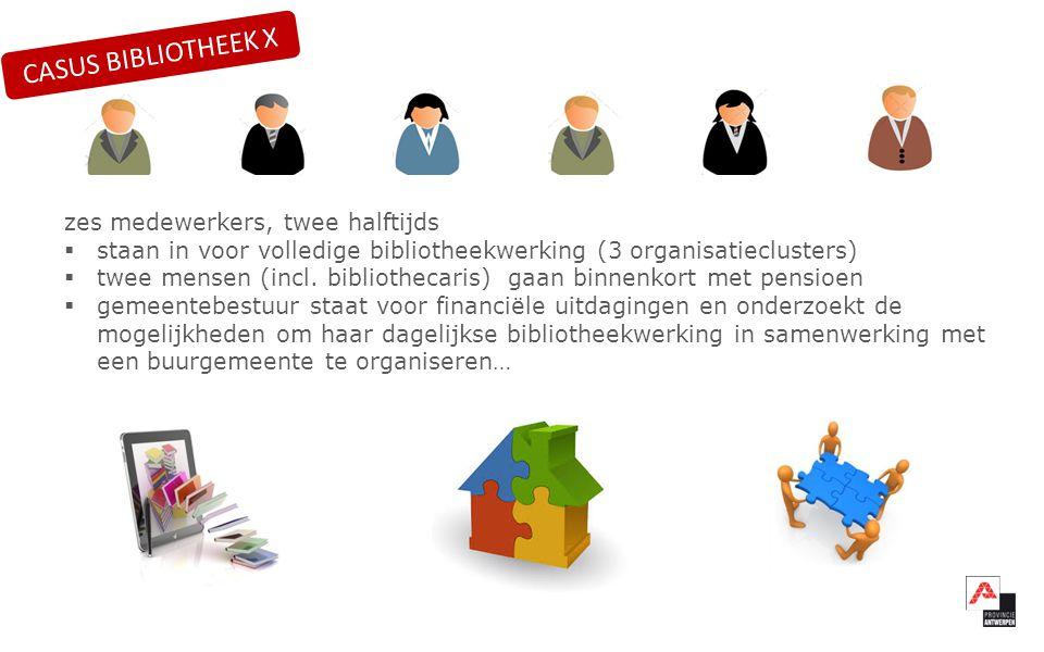 zes medewerkers, twee halftijds  staan in voor volledige bibliotheekwerking (3 organisatieclusters)  twee mensen (incl.