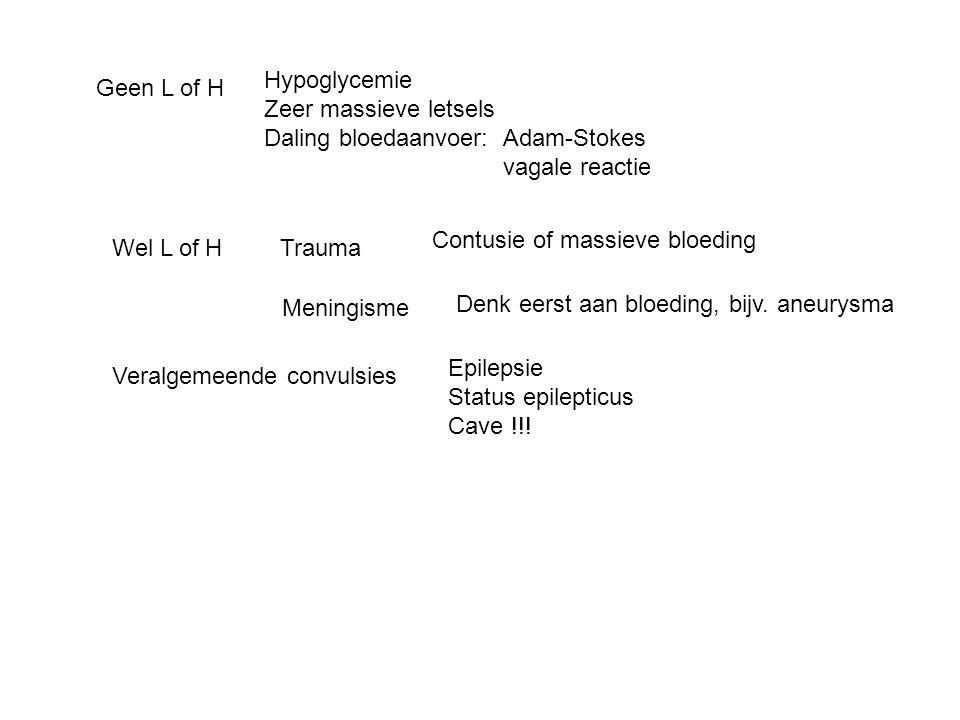 Coma: plots ontstaan Geen L:Hypoglycemie Zeer massieve letsels Daling bloedaanvoer: Adam-Stokes Vagale reactie Wel L:Trauma:Contusie of massieve bloeding Meningisme:Denk eerst aan bloeding, bijv.