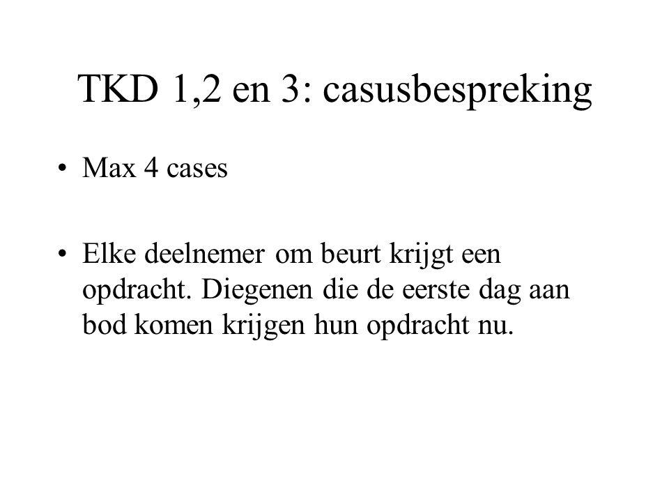 TKD 1,2 en 3: casusbespreking Max 4 cases Elke deelnemer om beurt krijgt een opdracht. Diegenen die de eerste dag aan bod komen krijgen hun opdracht n