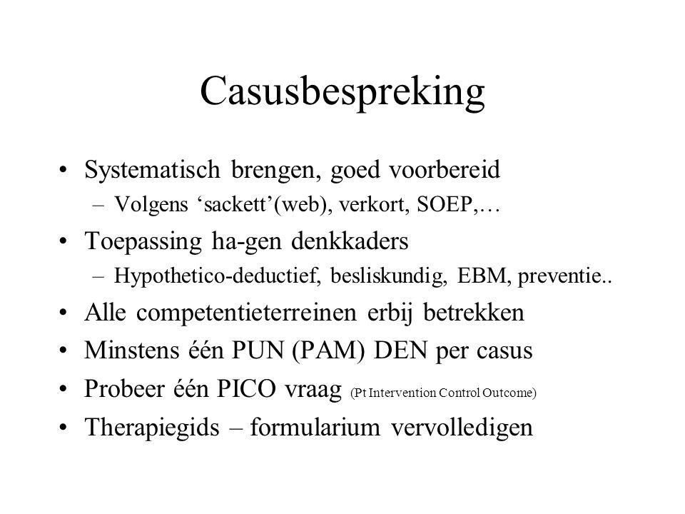 Casusbespreking Systematisch brengen, goed voorbereid –Volgens 'sackett'(web), verkort, SOEP,… Toepassing ha-gen denkkaders –Hypothetico-deductief, besliskundig, EBM, preventie..
