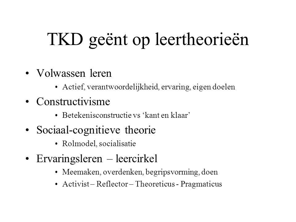 TKD geënt op leertheorieën Volwassen leren Actief, verantwoordelijkheid, ervaring, eigen doelen Constructivisme Betekenisconstructie vs 'kant en klaar