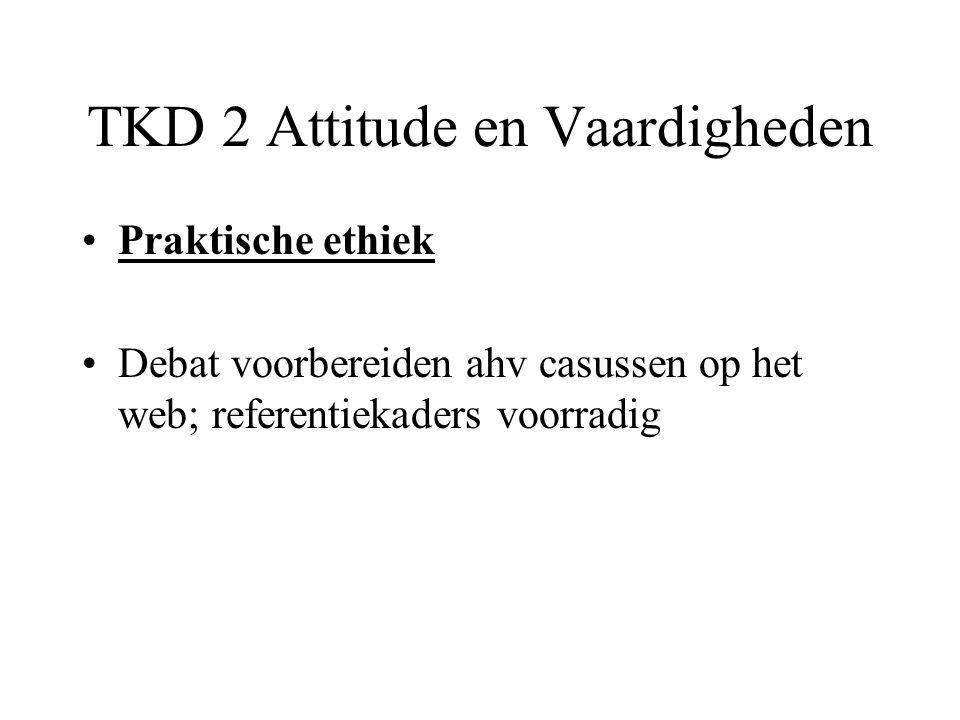TKD 2 Attitude en Vaardigheden Praktische ethiek Debat voorbereiden ahv casussen op het web; referentiekaders voorradig