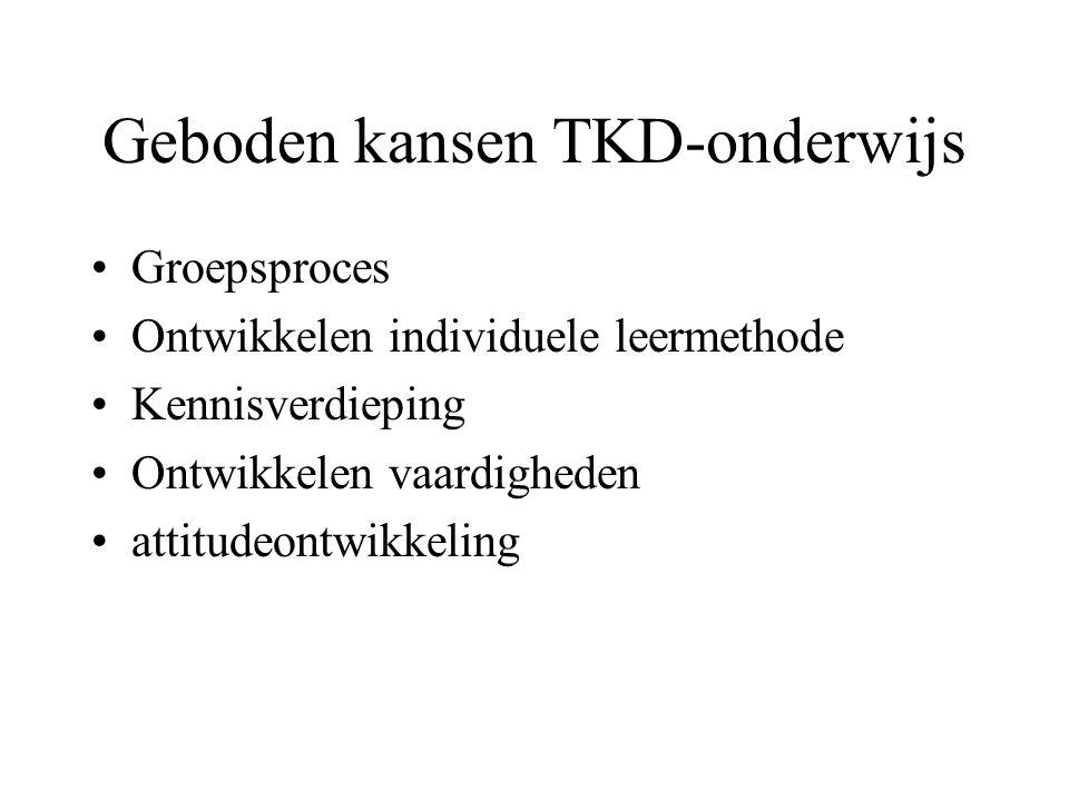Geboden kansen TKD-onderwijs Groepsproces Ontwikkelen individuele leermethode Kennisverdieping Ontwikkelen vaardigheden attitudeontwikkeling