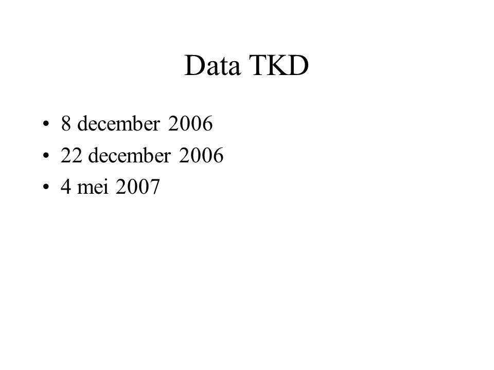 TKD 1,2 en 3: casusbespreking Max 4 cases Elke deelnemer om beurt krijgt een opdracht.