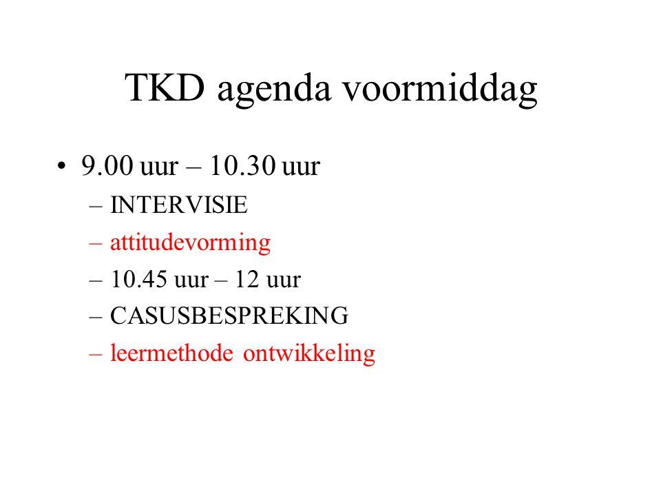 TKD agenda voormiddag 9.00 uur – 10.30 uur –INTERVISIE –attitudevorming –10.45 uur – 12 uur –CASUSBESPREKING –leermethode ontwikkeling