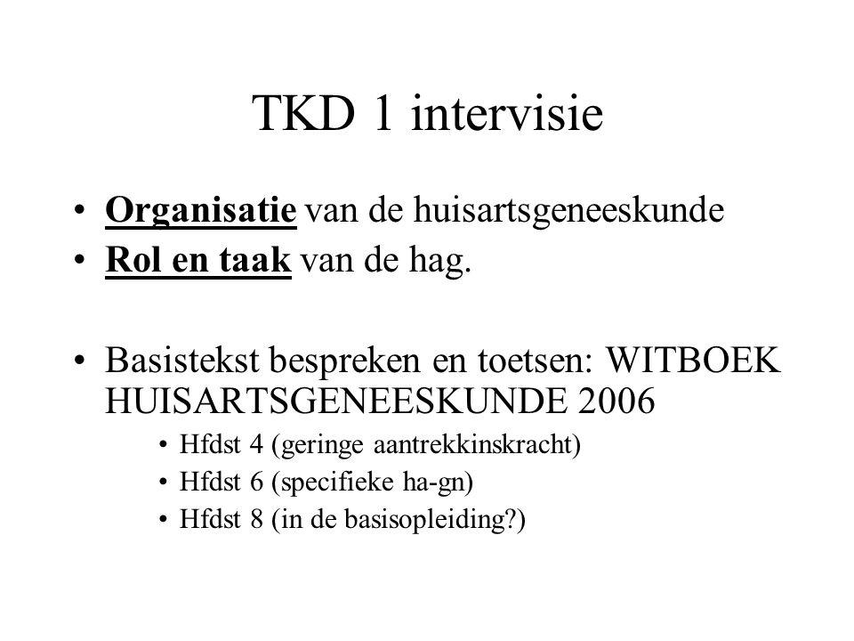 TKD 1 intervisie Organisatie van de huisartsgeneeskunde Rol en taak van de hag. Basistekst bespreken en toetsen: WITBOEK HUISARTSGENEESKUNDE 2006 Hfds