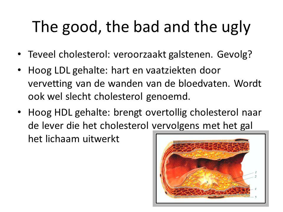 The good, the bad and the ugly Teveel cholesterol: veroorzaakt galstenen. Gevolg? Hoog LDL gehalte: hart en vaatziekten door vervetting van de wanden