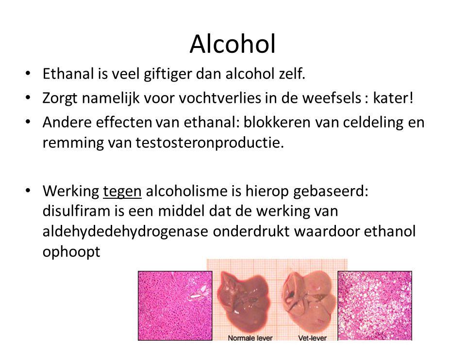Alcohol Ethanal is veel giftiger dan alcohol zelf. Zorgt namelijk voor vochtverlies in de weefsels : kater! Andere effecten van ethanal: blokkeren van