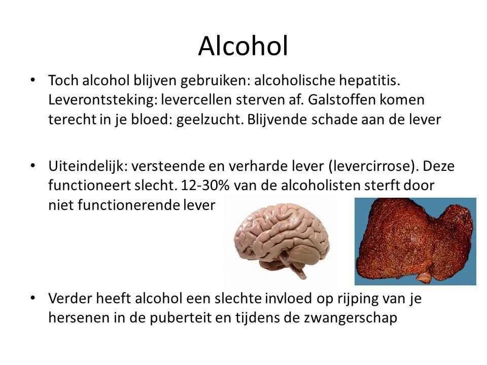 Alcohol Toch alcohol blijven gebruiken: alcoholische hepatitis. Leverontsteking: levercellen sterven af. Galstoffen komen terecht in je bloed: geelzuc