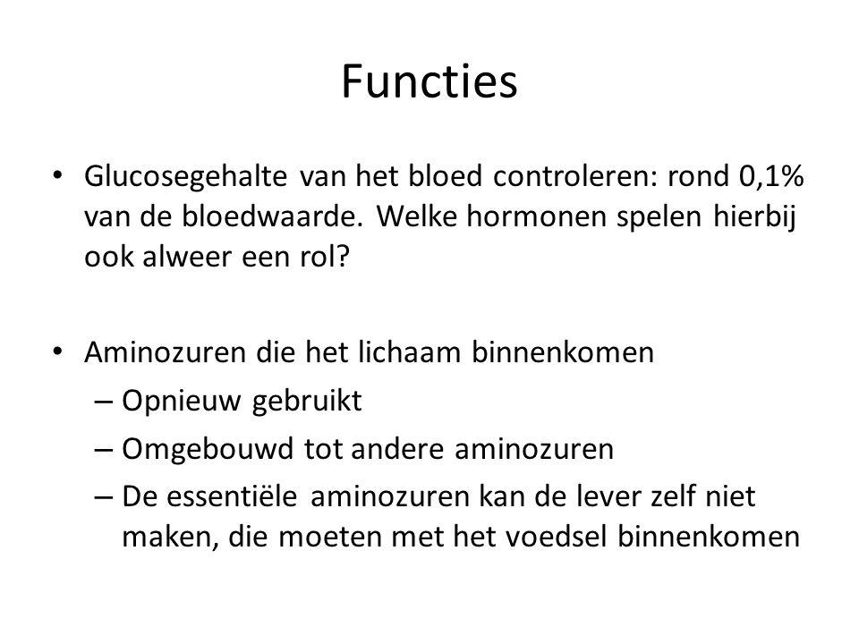 Functies Glucosegehalte van het bloed controleren: rond 0,1% van de bloedwaarde. Welke hormonen spelen hierbij ook alweer een rol? Aminozuren die het