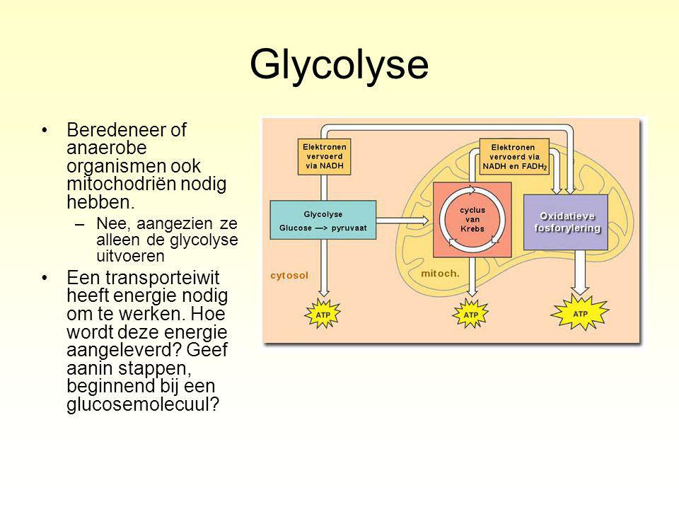 Glycolyse Beredeneer of anaerobe organismen ook mitochodriën nodig hebben.
