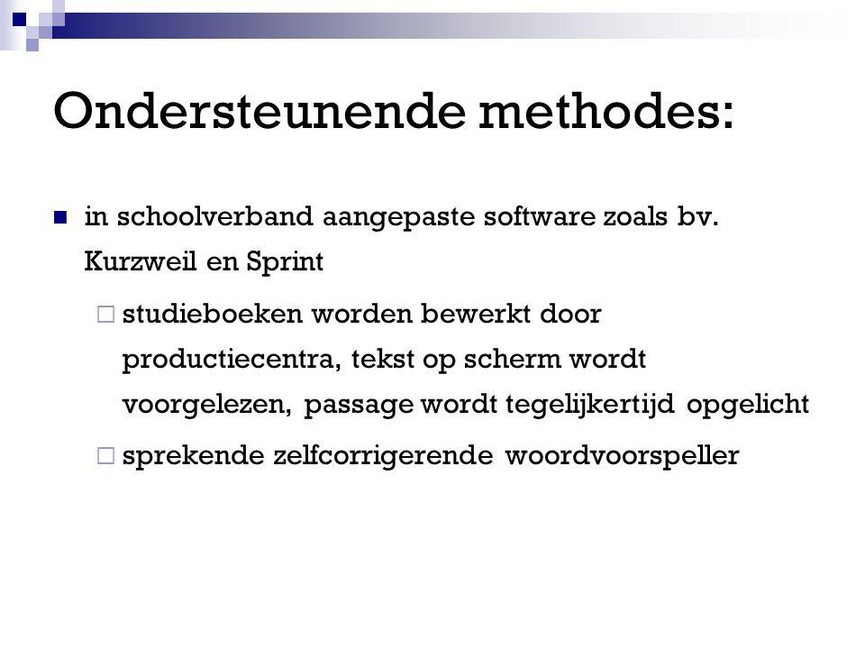 Ondersteunende methodes: in schoolverband aangepaste software zoals bv.