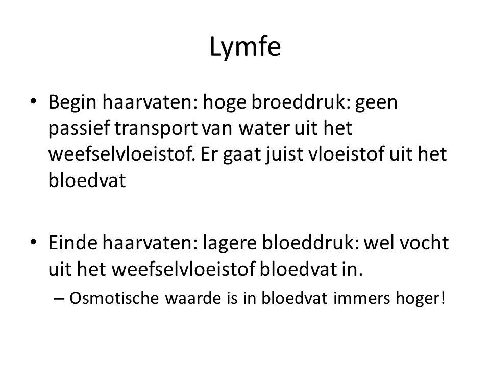 Oedeem Door eiwit tekort: lagere osmotische waarde in het bloed.