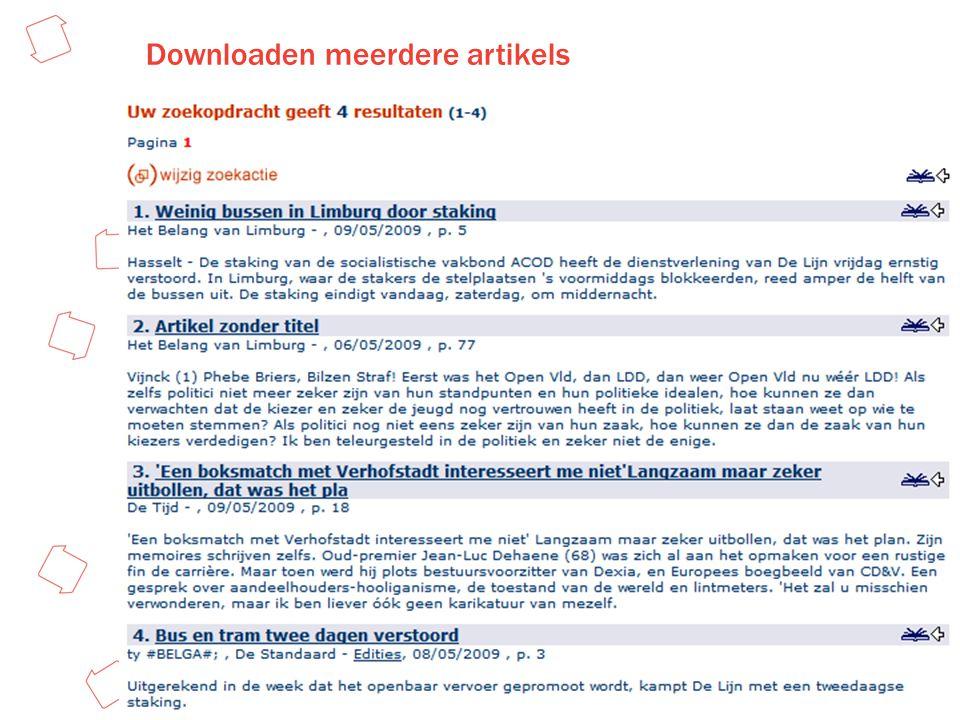 Downloaden meerdere artikels