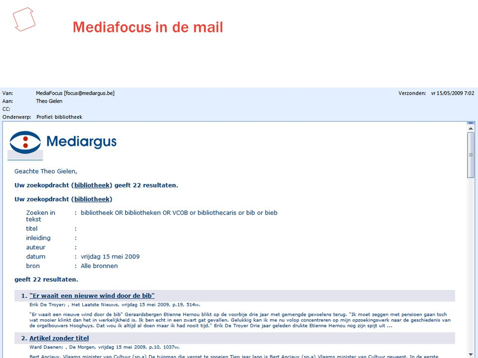 Mediafocus in de mail