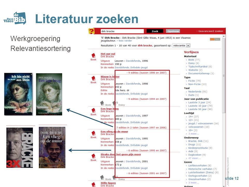 Literatuur zoeken Werkgroepering Relevantiesortering slide 12