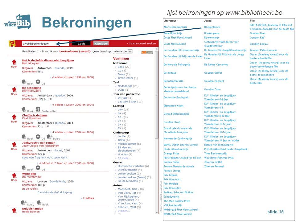 Bekroningen lijst bekroningen op www.bibliotheek.be slide 15