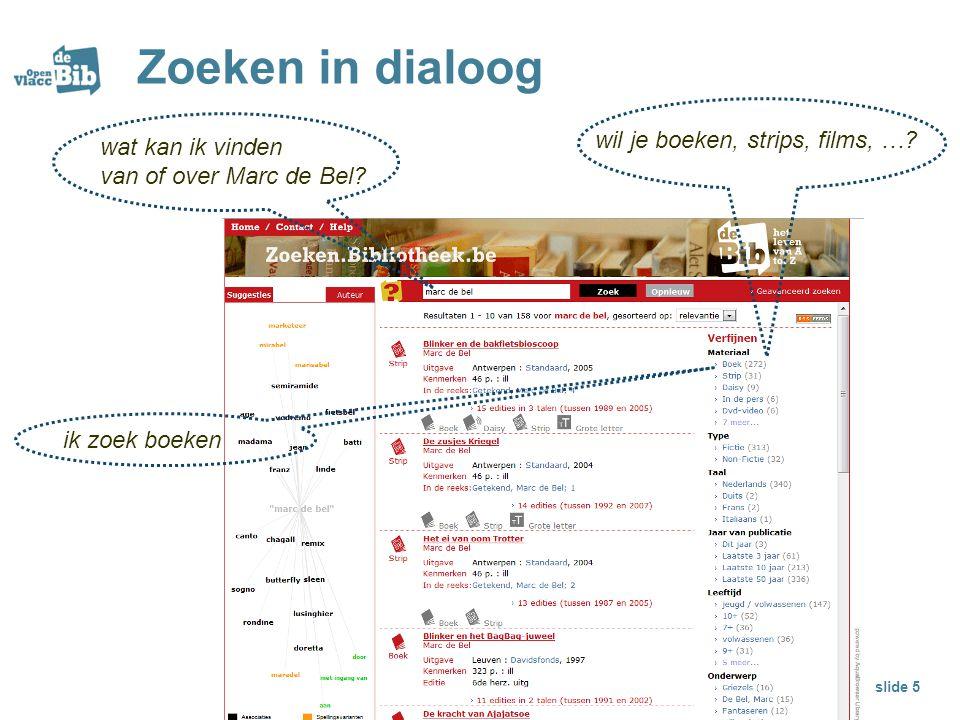 Zoeken in dialoog wat kan ik vinden van of over Marc de Bel? slide 5 wil je boeken, strips, films, …? ik zoek boeken