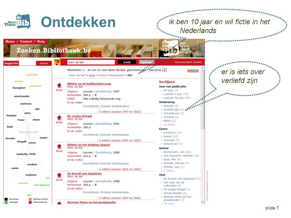 Ontdekken slide 7 ik ben 10 jaar en wil fictie in het Nederlands er is iets over verliefd zijn