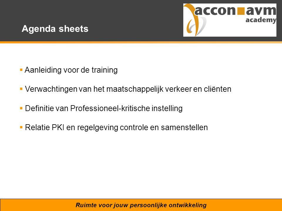 Ruimte voor jouw persoonlijke ontwikkeling Agenda sheets  Aanleiding voor de training  Verwachtingen van het maatschappelijk verkeer en cliënten  D
