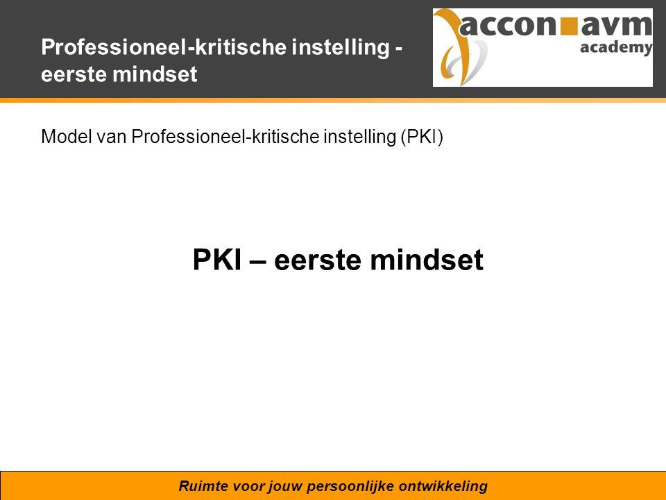 Ruimte voor jouw persoonlijke ontwikkeling Professioneel-kritische instelling - eerste mindset Model van Professioneel-kritische instelling (PKI) PKI
