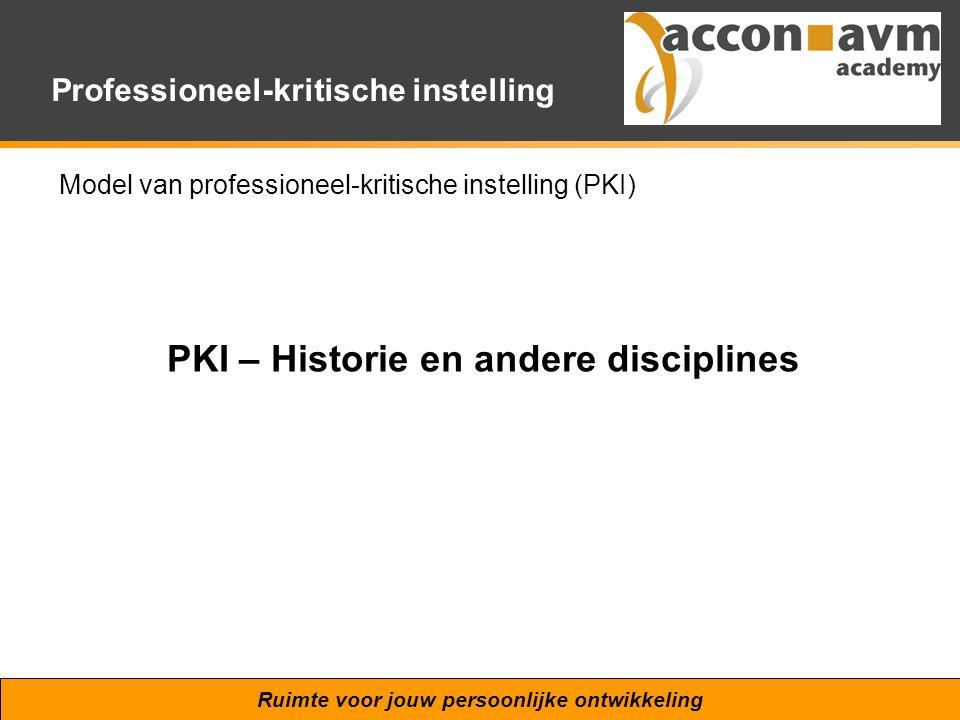 Ruimte voor jouw persoonlijke ontwikkeling Professioneel-kritische instelling Model van professioneel-kritische instelling (PKI) PKI – Historie en and