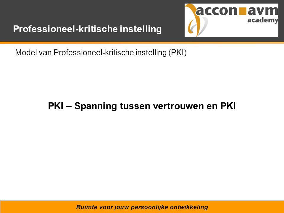 Ruimte voor jouw persoonlijke ontwikkeling Professioneel-kritische instelling Model van Professioneel-kritische instelling (PKI) PKI – Spanning tussen