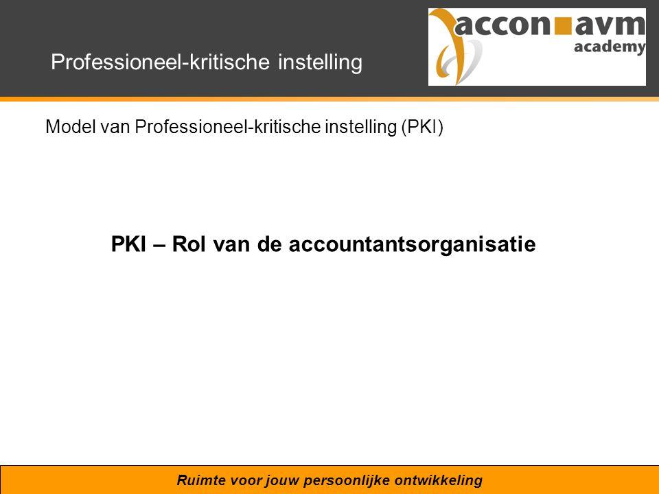 Ruimte voor jouw persoonlijke ontwikkeling Professioneel-kritische instelling Model van Professioneel-kritische instelling (PKI) PKI – Rol van de acco