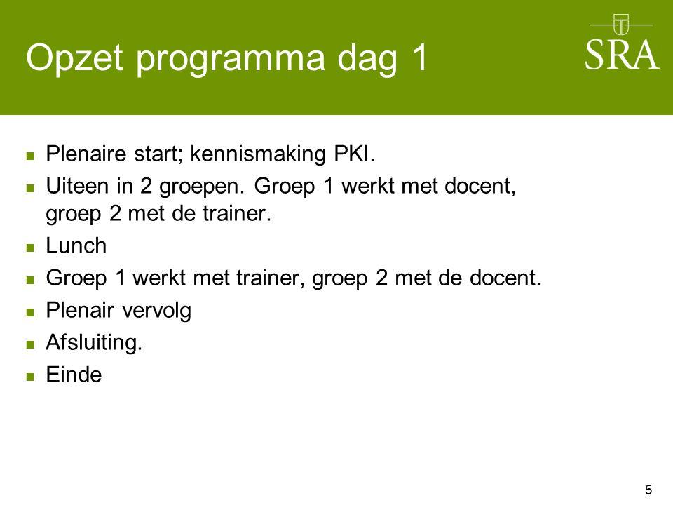 Opzet programma dag 1 Plenaire start; kennismaking PKI. Uiteen in 2 groepen. Groep 1 werkt met docent, groep 2 met de trainer. Lunch Groep 1 werkt met