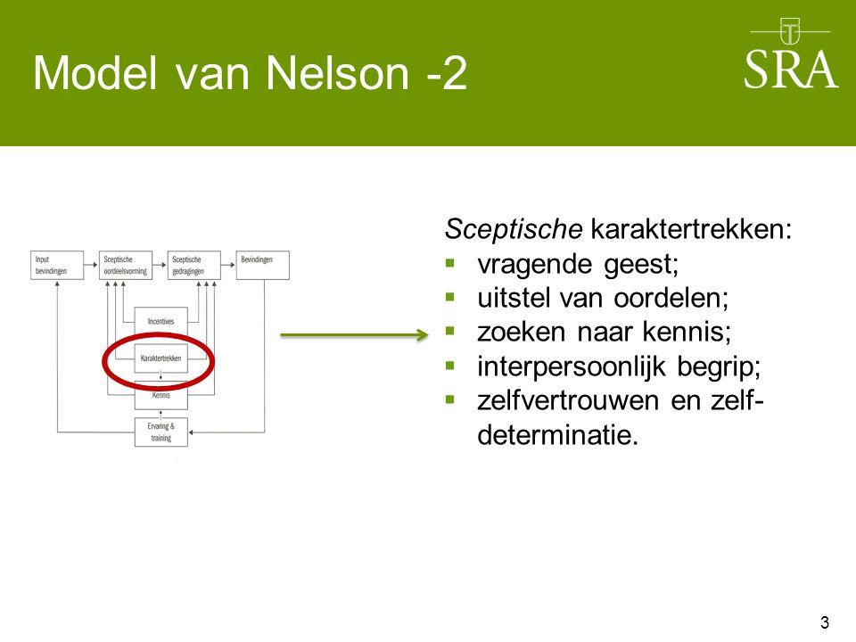 Model van Nelson -2 3 Sceptische karaktertrekken:  vragende geest;  uitstel van oordelen;  zoeken naar kennis;  interpersoonlijk begrip;  zelfver