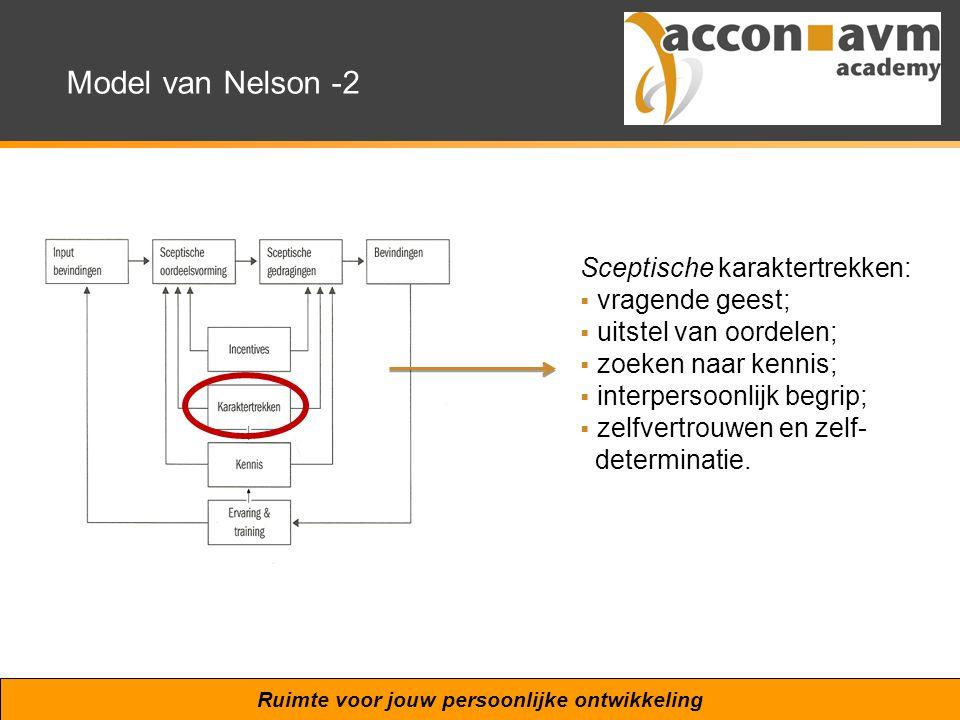 Ruimte voor jouw persoonlijke ontwikkeling Model van Nelson -2 Sceptische karaktertrekken:  vragende geest;  uitstel van oordelen;  zoeken naar ken