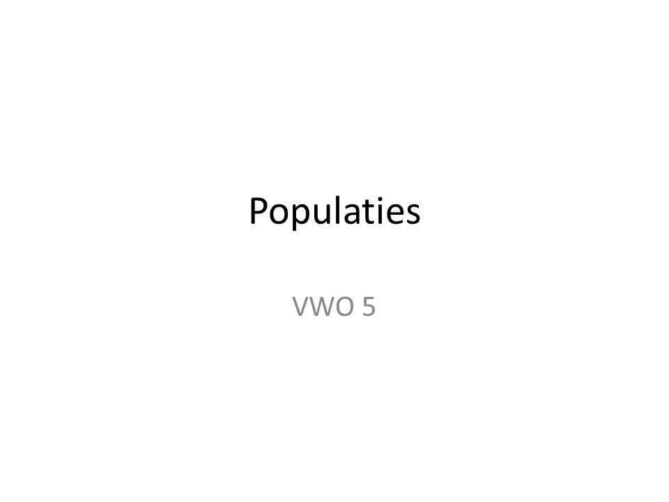 Bepalen van populatiedichtheid Kwadrantmethode Transect Merken en terugvangen: – Eerste vangst (A): dieren merken en terugzetten – Tweede vangst (B): aantal gemerkte dieren tellen (C) – Berekening: Totale populatie = B/C x A