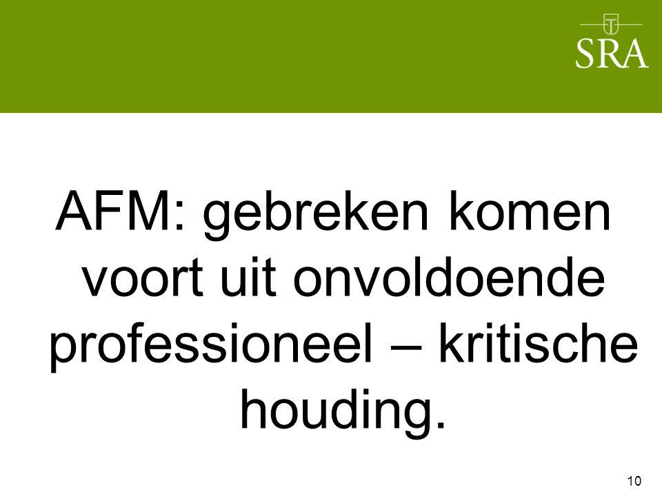 AFM: gebreken komen voort uit onvoldoende professioneel – kritische houding. 10