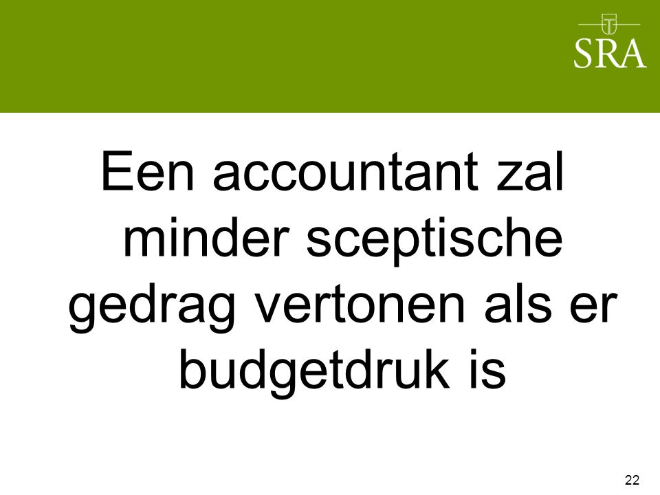 Een accountant zal minder sceptische gedrag vertonen als er budgetdruk is 22